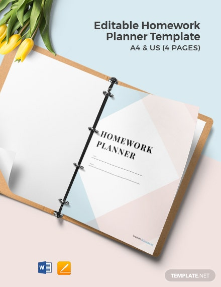 Free Editable Homework Planner Template
