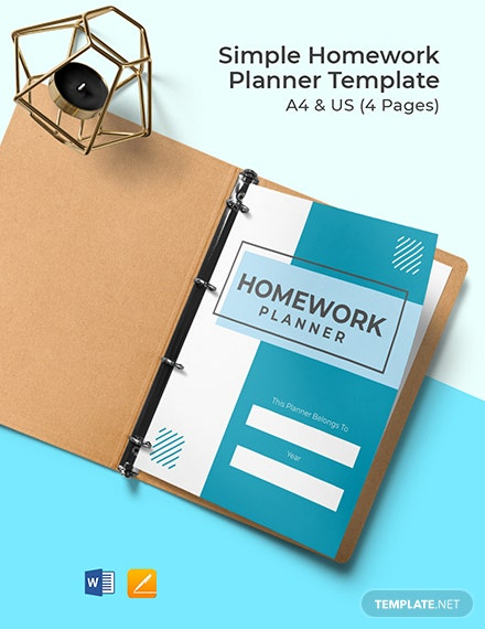 Free Simple Homework Planner Template