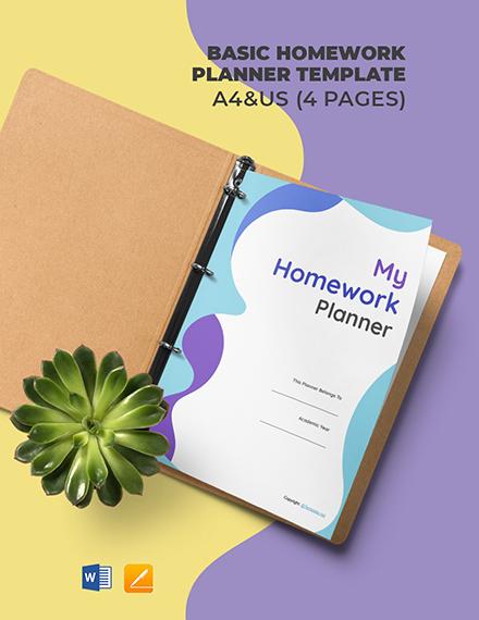 Free Basic Homework Planner Template