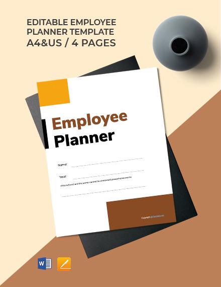 Free Editable Employee Planner Template