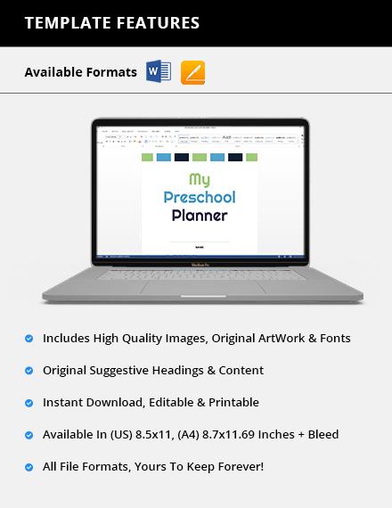 Editable Preschool Planner Download