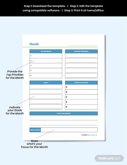 Sample Editable Preschool Planner