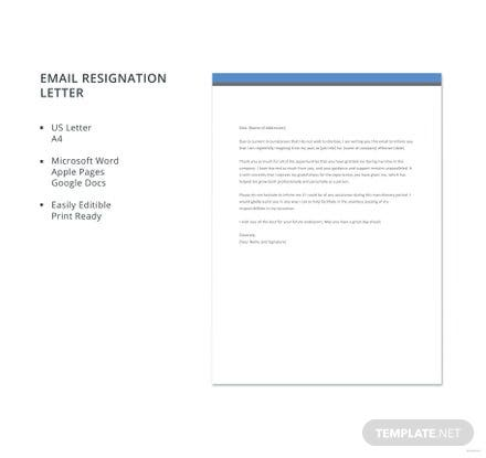 Email Resignation Letter Template