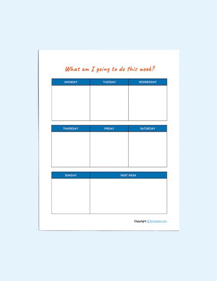 Sample Preschool Planner Template