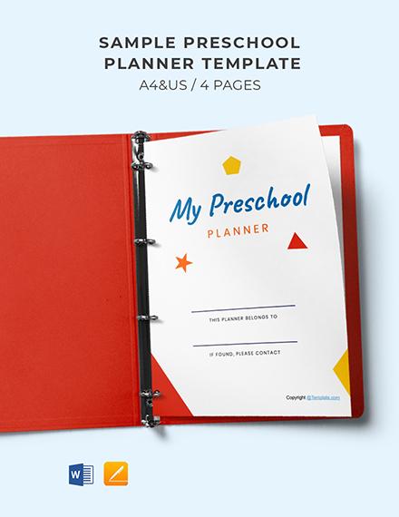 Free Sample Preschool Planner Template