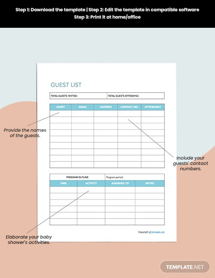 Basic Baby Shower Planner Editable