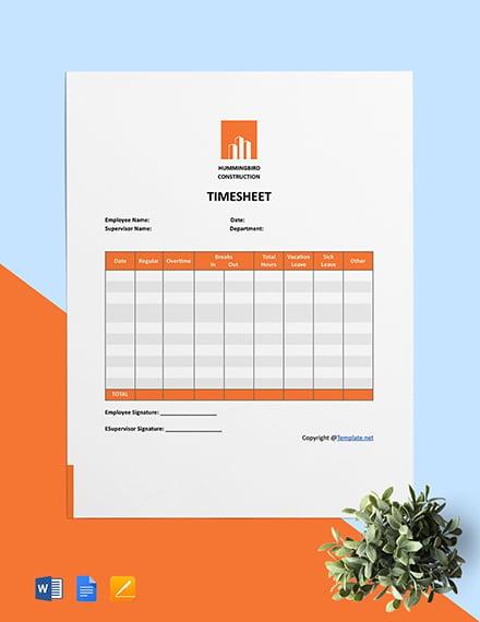 Printable Construction Timesheet Template