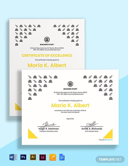 Free Blank Construction Certificate Template