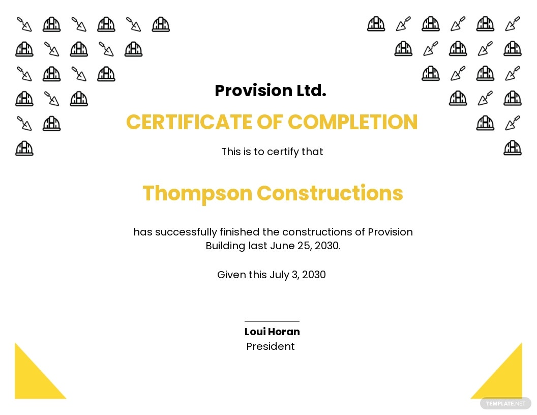 Blank Construction Certificate Template