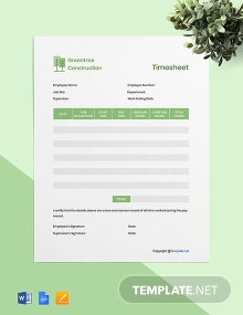 Free Editable Construction Timesheet Template