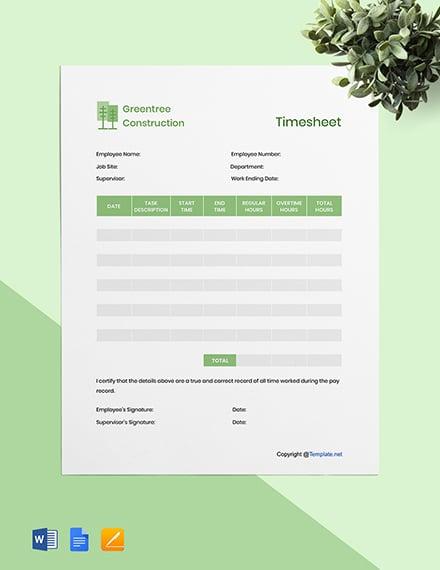 Editable Construction Timesheet Template
