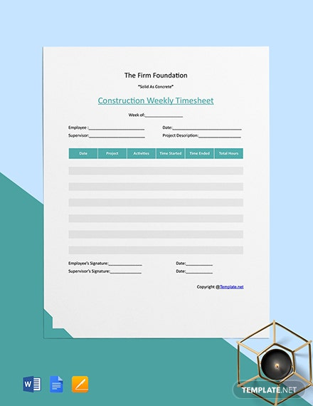 Free Basic Construction Timesheet Template