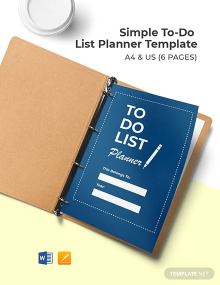 Free Simple To Do List Planner Template