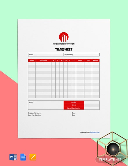 Simple  Construction Time Sheet Format