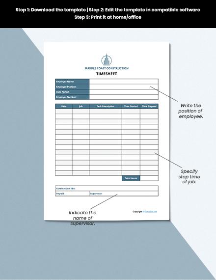 Sample Construction Timesheet Template