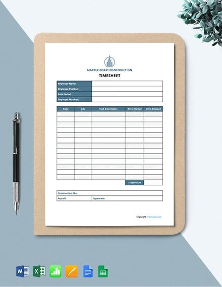 Free Sample Construction Timesheet Template