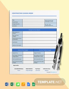 Free Printable Construction Change Order Template