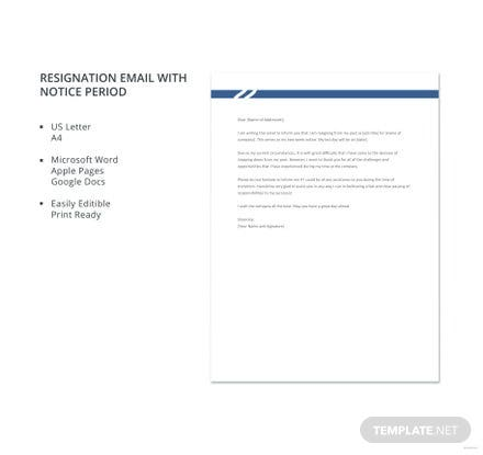 Resignation Email with Notice Period Template