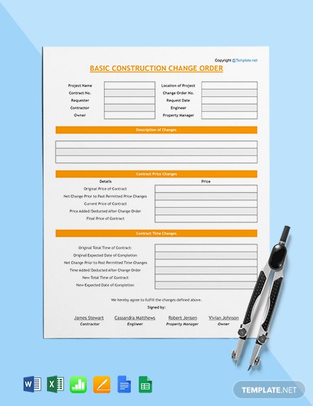 Basic Construction Change Order Template