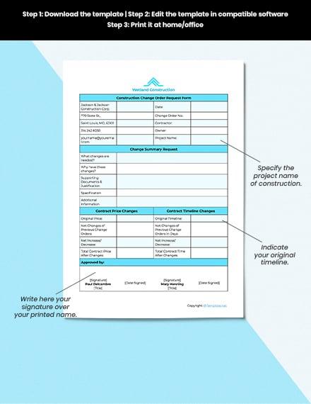 Sample Construction Change Order Template