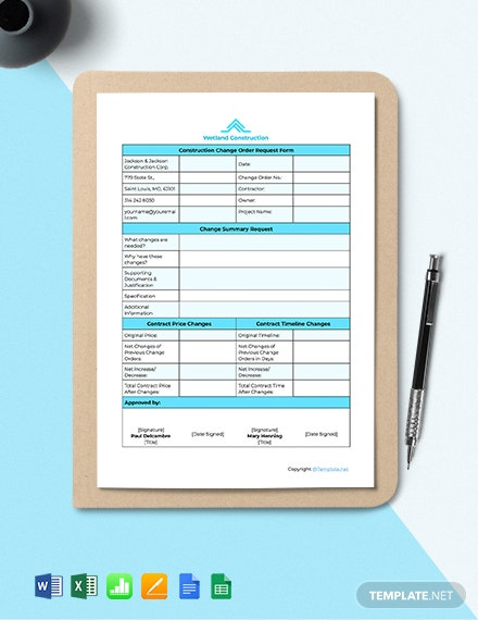Free Sample Construction Change Order Template