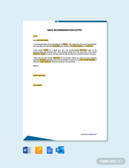 Free Basic Recommendation Letter Template