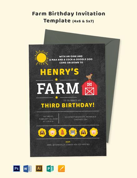 Farm Birthday Invitation Template