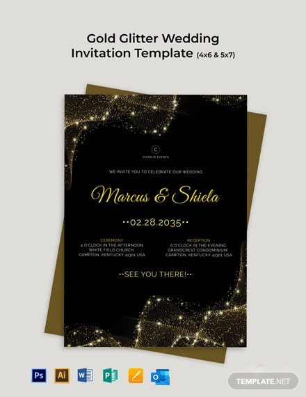 Gold Glitter Wedding Invitation Template