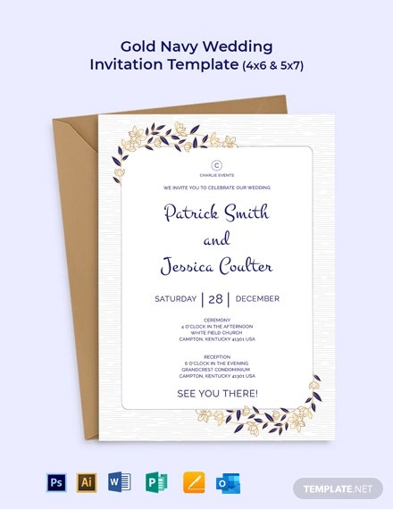 Gold Navy Wedding Invitation Template