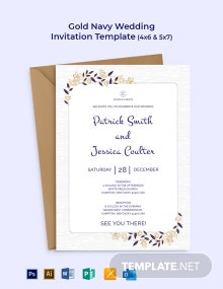 Gold Navy Wedding Invitation Template