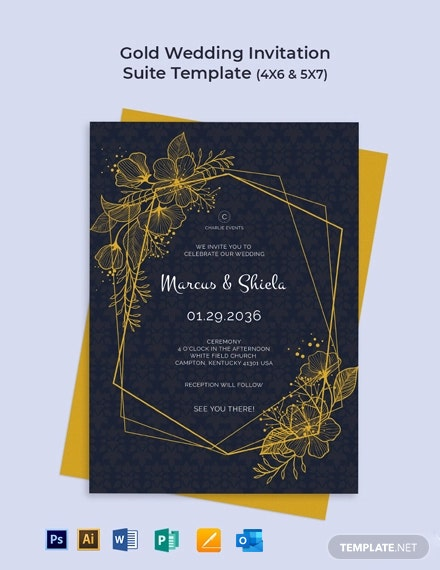 Gold Wedding Invitation Suite Template
