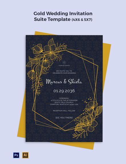 Gold Wedding Invitation Suite Template