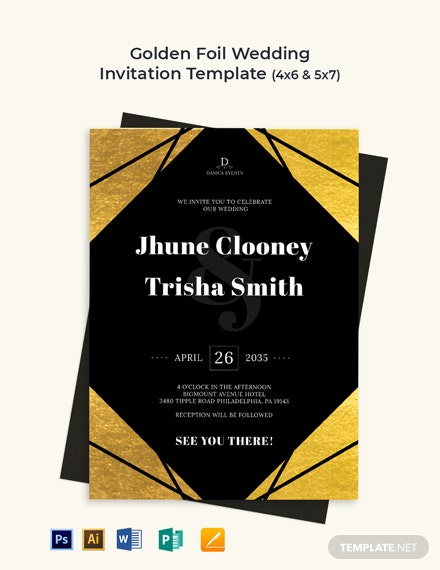 Golden Foil Wedding Invitation Template