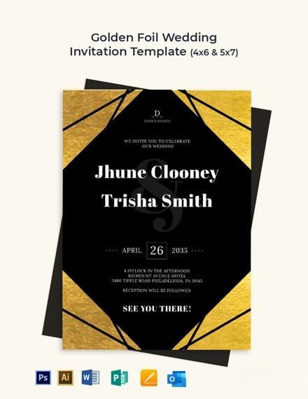Golden Foil Wedding Invitation Template