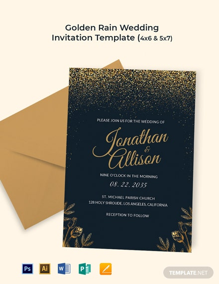 Golden Rain Wedding Invitation Template