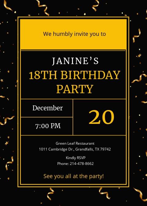 Golden Ticket Birthday Invitation Template