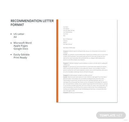 Free Recommendation Letter Format