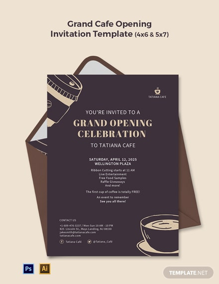 Grand Cafe Opening Invitation Template