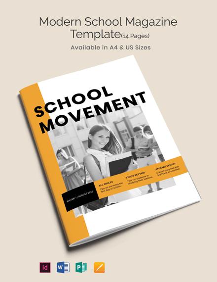 Free Modern School Magazine Template
