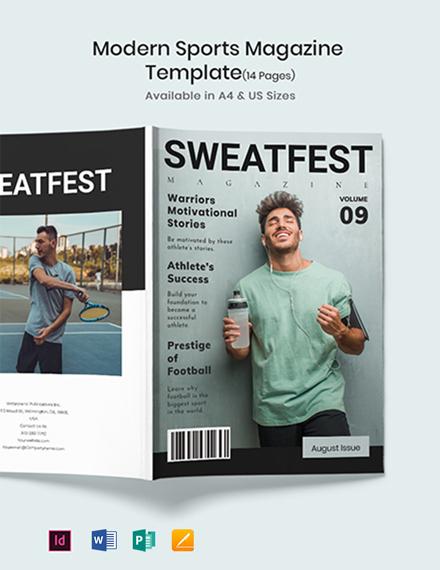 Free Modern Sports Magazine Template