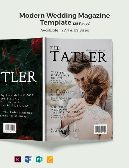 Free Modern Wedding magazine Template