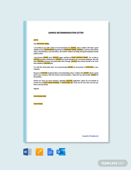Free Sample Recommendation Letter Template
