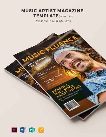 Music Artist Magazine Template