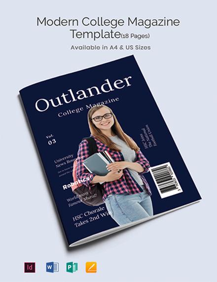 Free Modern College Magazine Template
