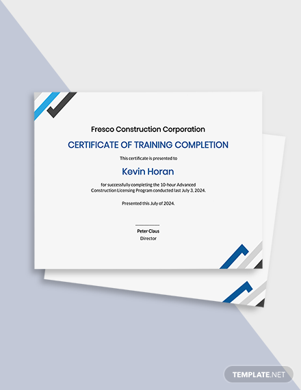 Free Printable Construction Certificate Template