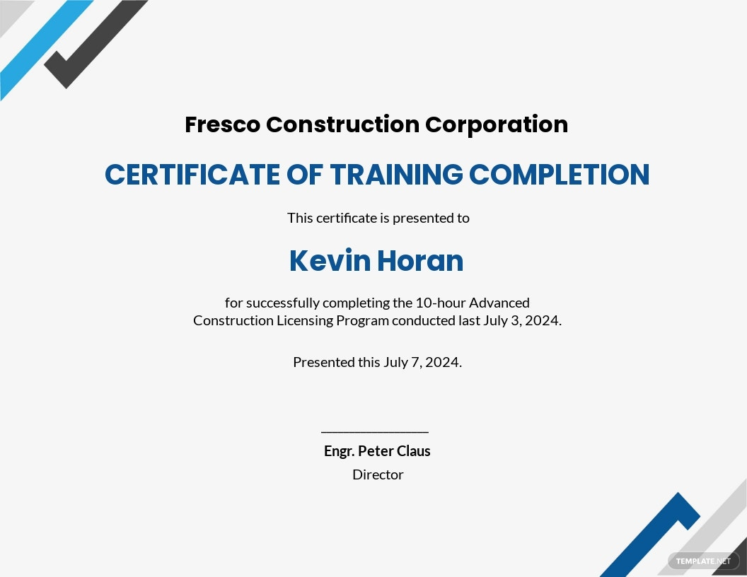 Printable Construction Certificate Template