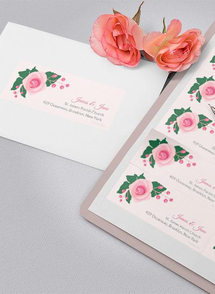 Free Pink Wedding Address Label Template
