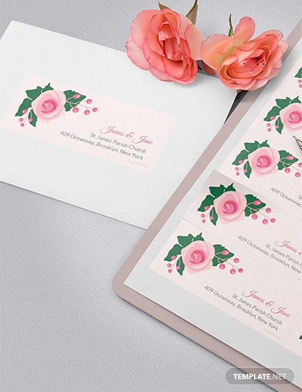 Free Pink Wedding Address Label Template
