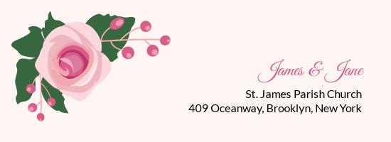 Pink Wedding Address Label Template.jpe