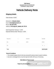 Free Sample Vehicle Delivery Note Template